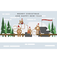 Monkeys are celebrating a Christmas vector image