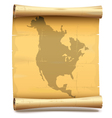 Paper Scroll with North America vector image vector image