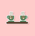 paper sticker on stylish background coffee cups vector image vector image