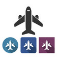 plane icon in different variants with long shadow vector image vector image