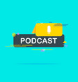 podcast flat icon logo design on blue background vector image