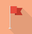Red flag in flat style vector image