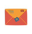 retro orange mail envelope with seal and stamp vector image