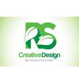 rs green leaf letter design logo eco bio leaf vector image vector image