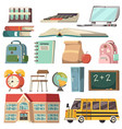school orthogonal icon set vector image vector image