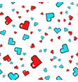 seamless pattern with pixel hearts valentines day vector image vector image