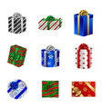 set christmas gift boxes top and side view vector image vector image