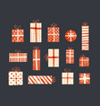 set cream-colored and red gift boxes in vintage vector image vector image