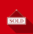 sold sign with long shadow sold sticker vector image vector image