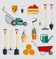 stickers set farm tools flat vector image