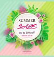 summer sale banner with paper flowers and leaves vector image