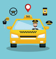 taxi service driver car app smart transport travel vector image