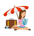 tourist woman with paper map and travel icons vector image vector image