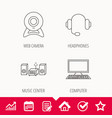 web camera headphones and computer icons vector image vector image