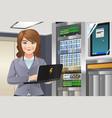 woman working in computer server room vector image