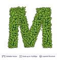 letter m symbol of green leaves vector image