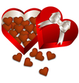 Chocolate Valentines day in heart gift box vector image