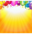 Frame With Colorful Balloons And Sunburst vector image