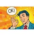 Positive okay businessman pop art vector image