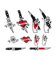 traditional tattoo style set - hearts vector image