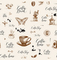 abstract seamless pattern on coffee theme vector image