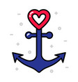 anchor with heart nautical love concept vector image vector image