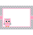 Baby Girl Owl Card vector image vector image