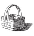 basket made of wood shavings pine shavings are vector image