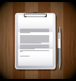 business office clipboard document and pen objects vector image