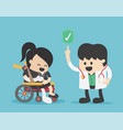 businesswoman sits on a wheelchair and injured vector image
