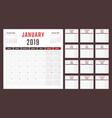 calendar for 2019 starts monday calendar vector image vector image