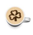 cappuccino cup with cinnamon clover pattern vector image