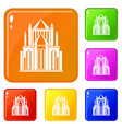 cathedral icons set color vector image vector image