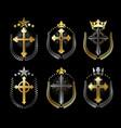 christian crosses emblems set heraldic design vector image vector image