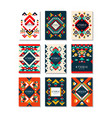 collection of card templates with ethnic patterns vector image vector image