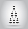 Corporate organization chart with business people