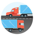 diesel trucks drive on two-line highway inside vector image vector image