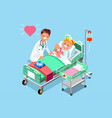 doctor and baby medical isometric people vector image vector image