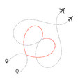 dotted heart airplanes route vector image vector image