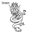 dragon in thin line style vector image