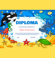 education diploma with cartoon underwater animals vector image vector image
