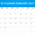 EU Planner blank for February 2017 Scheduler vector image