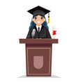 female graduate solemn tribune speech character vector image vector image