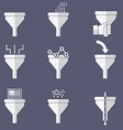 Filter icons data filter data tunnel icons set vector image vector image
