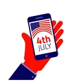 Fourth july Smartphone on hand vector image vector image