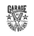 garage car and motorcycle custom engine motors vector image vector image