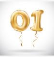 golden number 01 zero one metallic balloon party vector image vector image
