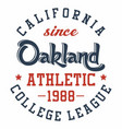 graphic design oakland athletic for t-shirts vector image vector image