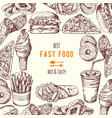hand drawn fast food background vector image