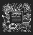 hand drawn street food banner fast food on chalk vector image